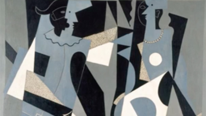 Foto: Pablo Picasso: Detalle de Arlequín y mujer con collar. 1917. Legado de la baronesa Eva Gourgaud en 1965 Centre Pompidou. Paris. Musée national d'art moderne.